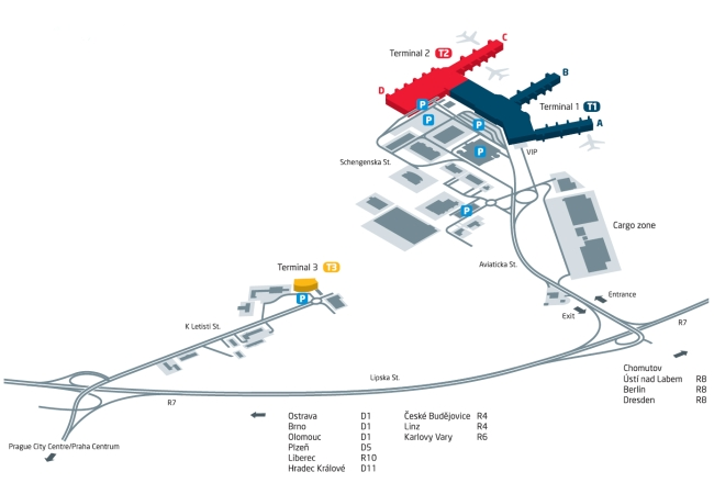 Map of Prague Airport (Ruzyne)